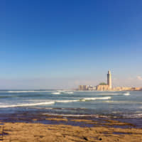 View on seafront of Grande Mosquée Hassan II in Casablanca, completed in 1993 is the largest mosque in Morocco and the 7th largest in the world. | © 123RF.COM/CARLOS EDGAR SOARES NETO