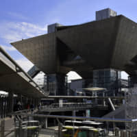 Construction takes place at Tokyo Big Sight in Koto Ward in February. | YOSHIAKI MIURA