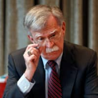 U.S. National Security Advisor, John Bolton meets with journalists during a visit to London Monday.   REUTERS