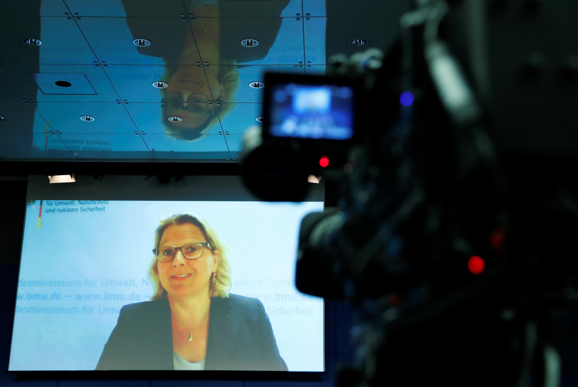 German Environment Minister Svenja Schulze addresses a news conference via live video link from the city of Bottrop about the Special Report on Climate Change and Land of the United Nations Intergovernmental Panel on Climate Change (IPCC), in Berlin Thursday. | REUTERS