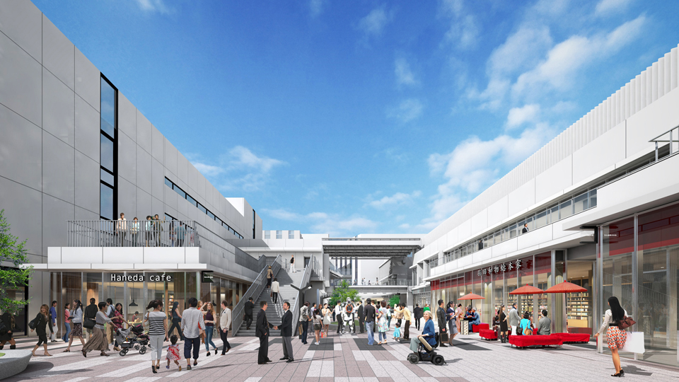 A rendering of Haneda Innovation City shows the Innovation Corridor, which will boast various cultural and technological facilities. | HANEDA FUTURE DEVELOPMENT CO.