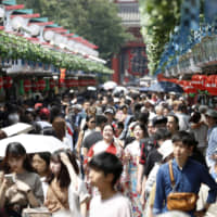 The Nakamise shopping street in the Asakusa district of Tokyo is crowded with tourists on July 17.   KYODO