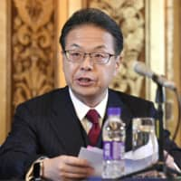 Economy, Trade and Industry Minister Hiroshige Seko speaks at a news conference in Beijing on Saturday. | KYODO