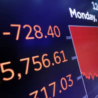 A board above the floor of the New York Stock Exchange shows an intraday number for the Dow Jones industrial average Monday. Stocks tanked again Monday on worries that President Donald Trump's worsening trade war will threaten a global recession and drag profits for companies even lower. | AP
