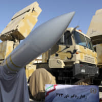 The Bavar-373 air-defense missile system is seen after being unveiled by Iranian President Hassan Rouhani. | IRANIAN PRESIDENCY OFFICE / VIA AP