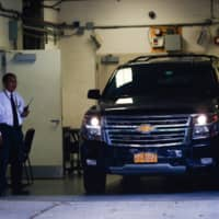 A car reportedly carrying the body of financier Jeffrey Epstein arrives at the medical examiner after he was found dead in his cell in the Manhattan Correctional Center of New York City Saturday.   REUTERS