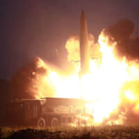 This early Tuesday photo released from North Korea's official Korean Central News Agency Wednesday shows the launch of two new-type tactical guided missiles during a demonstration fire at an undisclosed western part of North Korea.   PHOTO BY KCNA VIA KNS / VARIOUS SOURCES / VIA AFP-JIJI