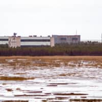 Buildings are seen in 2011 at a military base in the small town of Nyonoska in Russia's Arkhangelsk region. Two people were killed Thursday in an explosion at a military base used for missile tests in the far north of Russia, the defense ministry said in a statement to news agencies.   AFP-JIJI