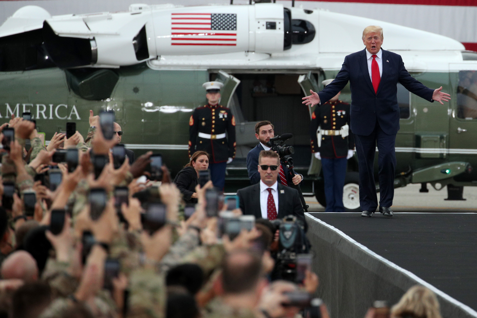 U.S. President Donald Trump arrives to address American military personnel at Osan Air Base in Pyeongtaek, South Korea, on June 30. | BLOOMBERG