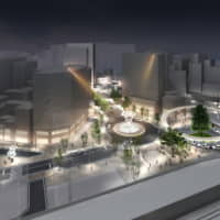 An artist's rendering shows plans for a redeveloped north exit of Otsuka Station that is designed to be attractive at night. | COURTESY OF TOSHIMA WARD