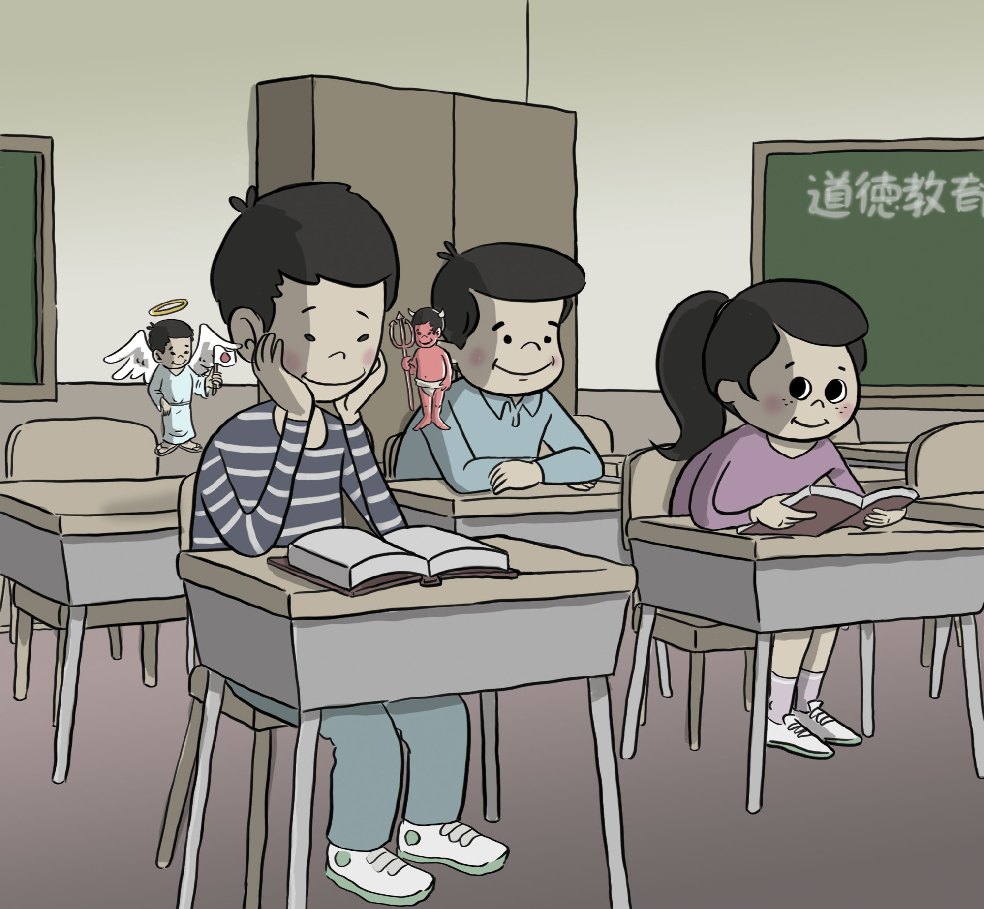 The children are our future: A Japanese morality textbook is filled with tales that the authorities hope will mold young minds and help them become functioning citizens. | ILLUSTRATION BY ADAM PASION