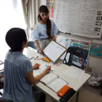 Sharing cultures: Ma Hay Mar (right), president of the Japan Myanmar Culture Center, teaches the Burmese language to a Japanese student at the center. | KYODO