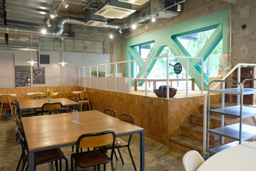 No solo seats here: Tiny Peace Kitchen's open floorplan has communal tables and even a small tatami mat dining area.   CLAIRE WILLIAMSON