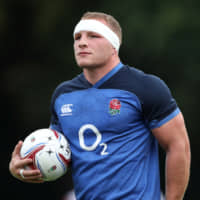 England's Sam Underhill, seen practicing on Aug. 8, will start in the back row against Ireland on Saturday. | REUTERS