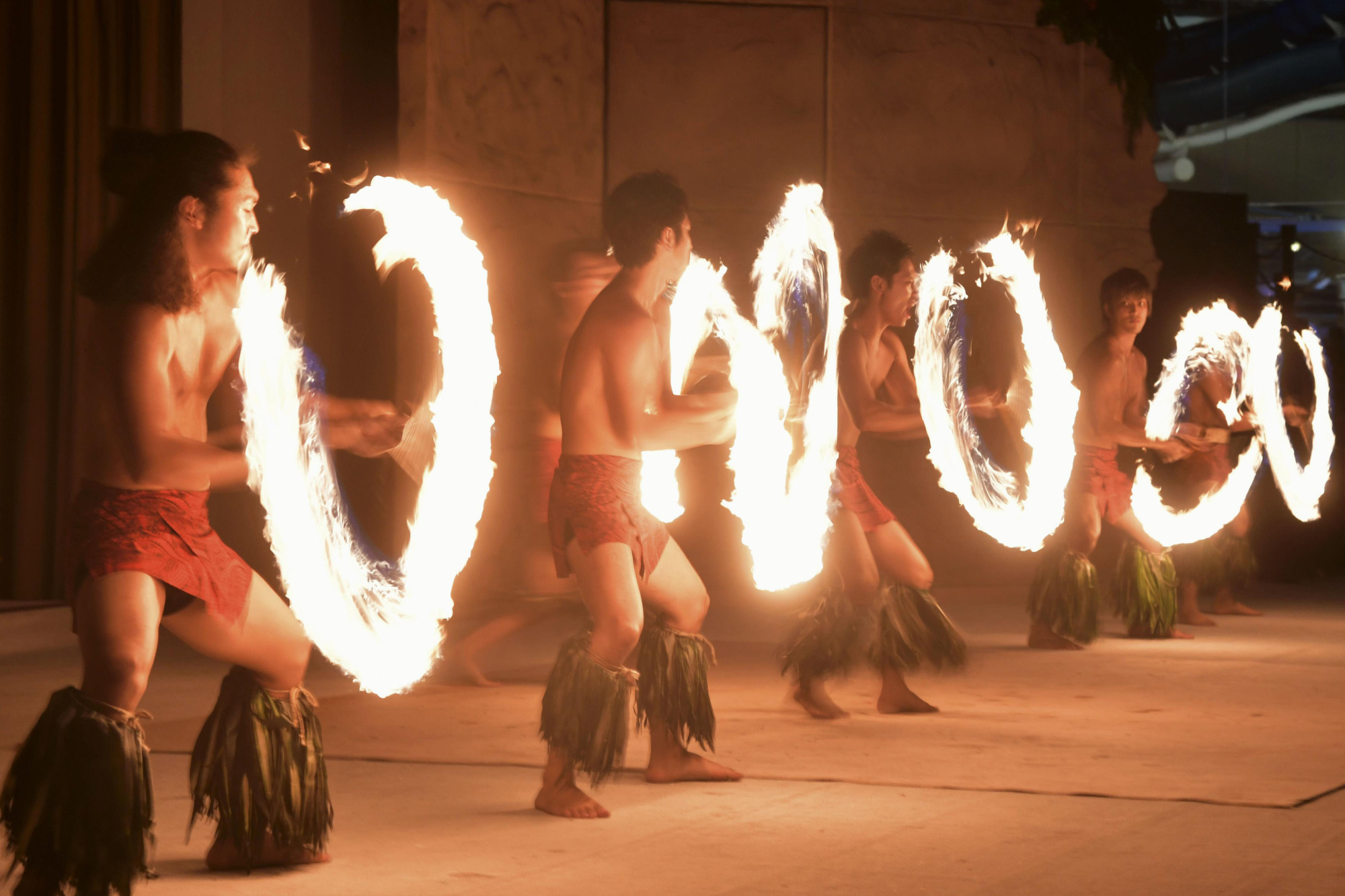 A Samoan fire knife dance is performed at a hot spring resort in Iwaki, Fukushima Prefecture, on Aug.1.   KYODO
