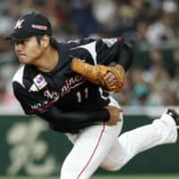 Marines hurler Chihaya Sasaki fires a pitch in Thursday's game against the Fighters at Tokyo Dome. Chiba Lotte blanked Hokkaido Nippon Ham 6-0. | KYODO