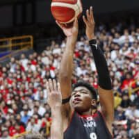 Rui Hachimura puts up a jumper during Japan's exhibition game against Germany on Saturday afternoon at Saitama Super Arena. | KYODO