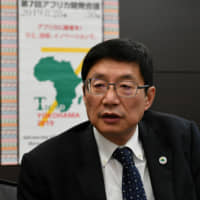 Shigeru Ushio, director-general of the African Affairs Department of the Foreign Ministry, speaks during an interview at the ministry on Aug. 2. | YOSHIAKI MIURA