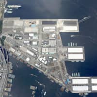 Yamashita Wharf in Yokohama is one of the candidate sites for newly legalized casino resorts in Japan.   KYODO