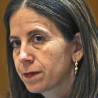 Sigal P. Mandelker, the undersecretary for terrorism and financial intelligence at the U.S. Treasury, listens to questions at a press briefing in Dubai, United Arab Emirates, in 2018. Speaking to journalists Sunday, Mandelker said that 'there's ... no question that Iranian oil sales have taken a serious nosedive' after the imposition of U.S. sanctions on Tehran. | AP