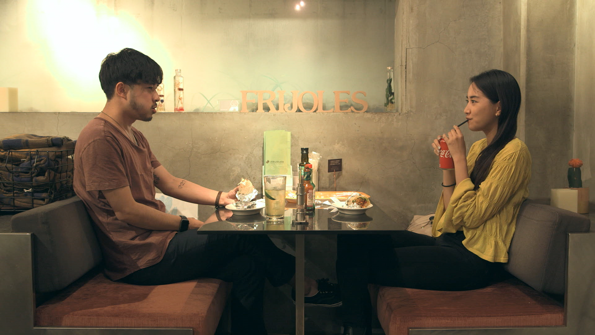 That's a wrap: Haruka (right) and Kenny weren't a perfect match, but they did both enjoy the burritos during their first date on 'Terrace House Tokyo 2019-2020.' | © FUJI TELEVISION / EAST ENTERTAINMENT