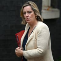 British Work and Pensions Secretary and Women's minister Amber Rudd arrives to attend a meeting of the Cabinet at 10 Downing Street in central London Sept. 4. British Prime Minister Boris Johnson received a fresh blow Saturday when Rudd quit her work and pensions post in protest of his handling of the Brexit crisis. | AFP-JIJI