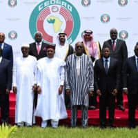 West African leaders gather in Ouagadougou on Saturday. From left: Presidents Ibrahim Boubacar Keita of Mali, Alassane Ouattara of Cote d'Ivoire, Idriss Deby of Chad, Mahamadou Issoufou of Niger, Roch Marc Christian Kabore of Burkina Faso, Faure Gnassigbe of Togo, Macky Sall of Senegal and Muhammadu Buhari of Nigeria. | AFP-JIJI