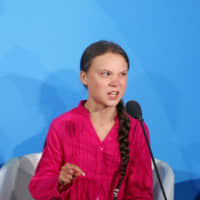 Environmental activist Greta Thunberg, of Sweden, addresses the Climate Action Summit in the United Nations General Assembly, at U.N. headquarters Monday. | AP