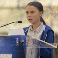 Swedish climate activist Greta Thunberg speaks during a Blue Leaders breakfast briefing focused on the release of and Intergovernmental Panel on Climate Change Special Report on the Ocean and Cryosphere In a Changing Climate, Wednesday in New York. Thunberg is among four people named Wednesday as the winners of a Right Livelihood Award, also known as the 'Alternative Nobel.' (AP Photo/Mary Altaffer) | AP