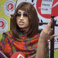 Pakistani social media star Qandeel Baloch speaks during a news conference in Lahore in 2016. | AP