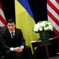 Ukrainian President Volodymyr Zelenskiy and U.S. President Donald Trump meet on the sidelines of the United Nations General Assembly in New York on Wednesday. | REUTERS