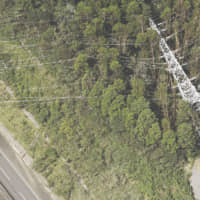 A downed power pylon is seen in a forest in Kimitsu, Chiba Prefecture, on Sept. 9 after being toppled by Typhoon Faxai .   KYODO