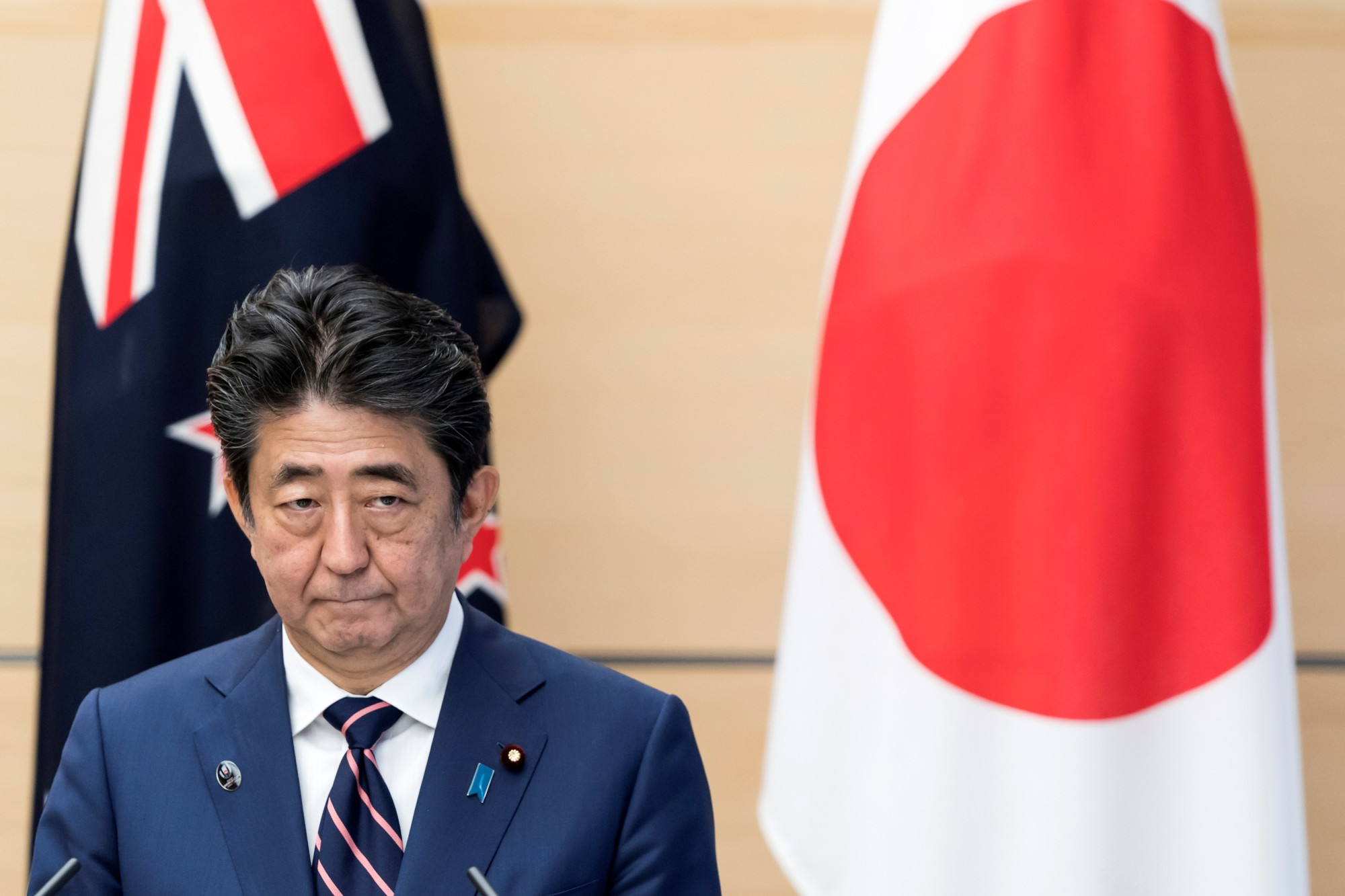 Prime Minister Shinzo Abe attends a joint news conference with New Zealand Prime Minister Jacinda Ardern (not pictured) on Thursday in Tokyo. | REUTERS