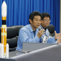 Atsutoshi Tamura, vice chief of Mitsubishi Heavy Industries Ltd.'s space operations, speaks at a news conference at the Tanegashima Space Center in Kagoshima Prefecture on Sept. 11 after a fire prompted the cancellation of a rocket launch. | ??