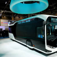 Toyota Motor Corp. displays the company's fuel cell bus Sora during a media preview for the 45th Tokyo Motor Show in October 2017. | REUTERS