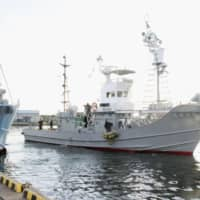 A whaling vessel departs from a port in Kushiro, Hokkaido, on Monday to catch minke whales. | KYODO