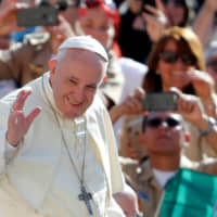 Up for a visit: It was announced that Pope Francis will visit Japan in November and that he will stop in the cities of Tokyo, Hiroshima and Nagasaki. | REUTERS