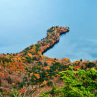 Finger lake: High up in Nikko National Park, Lake Chuzenji is pictured with its autumn coat on.   GETTY IMAGES