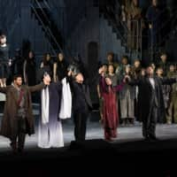 Innovator: Kazushi Ono (third from left) staged a new production of Giacomo Puccini's 'Turandot' earlier this year. | MASAHIKO TERASHI / COURTESY OF NEW NATIONAL THEATRE, TOKYO