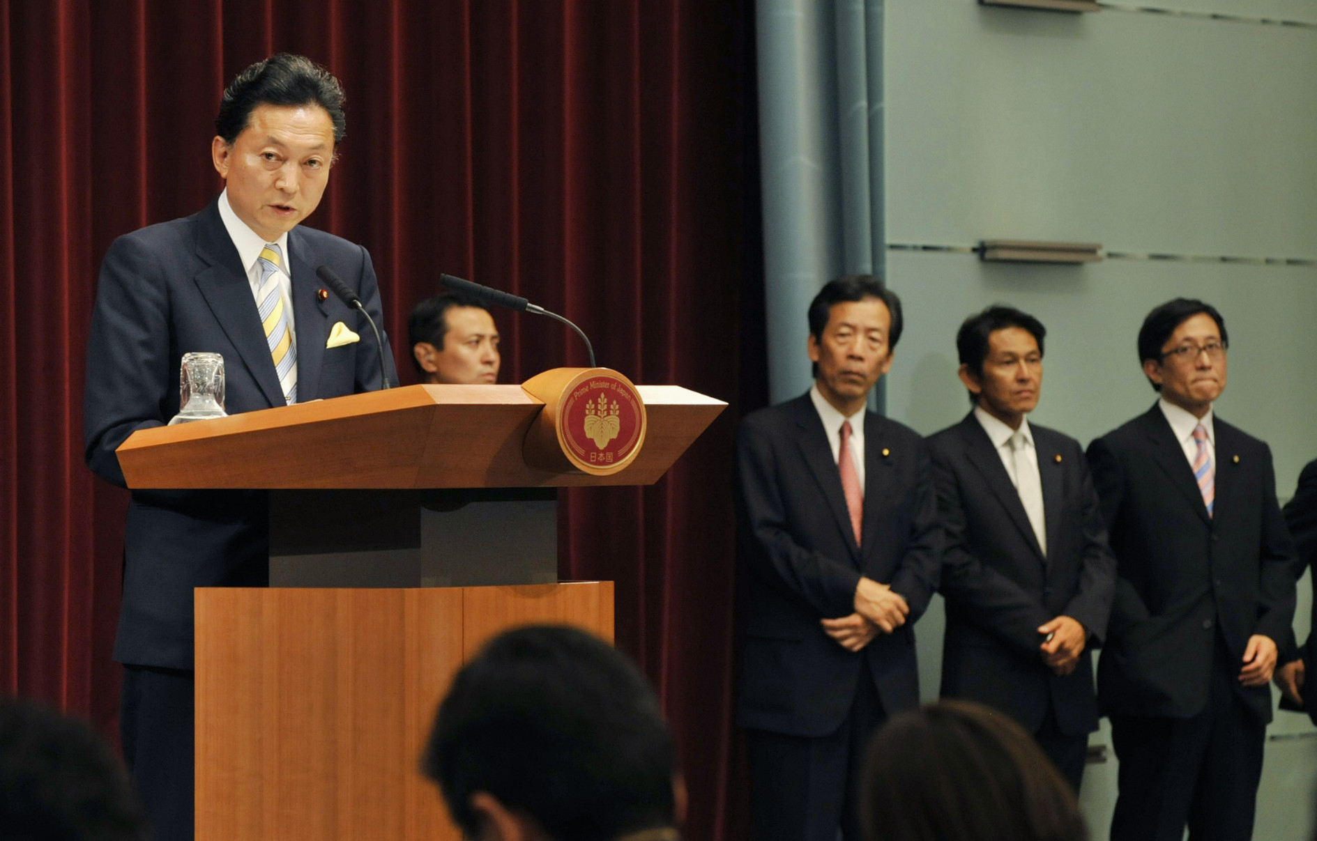 Prime Minister Yukio Hatoyama, leader of the now-defunct Democratic Party of Japan, speaks at a news conference at the Prime Minister's Office on Sept. 16, 2009, the first day of his administration. | KYODO