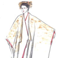 One of Takada's sketches of a costume for the opera 'Madama Butterfly.' | © KENZO TAKADA