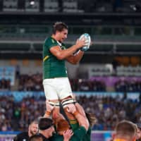 South Africa's Eben Etzebeth catches the ball during a lineout on Saturday. | AFP-JIJI