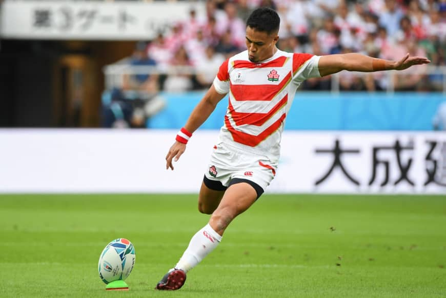 Japan's Yu Tamura kicks one of several penalties against Ireland on Saturday. | AFP-JIJI