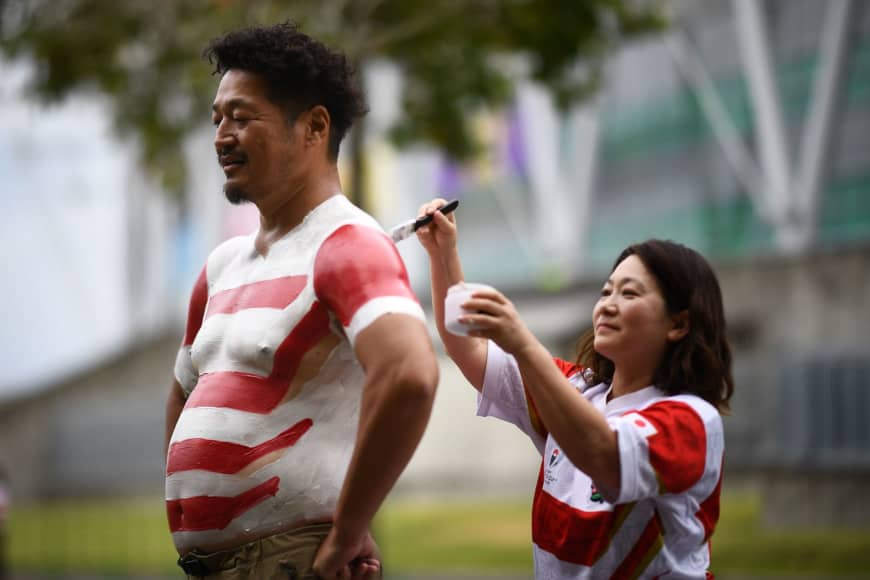 Bak-san said Saturday's paintwork, for the Japan vs. Ireland game, took about two hours to complete. | AFP-JIJI