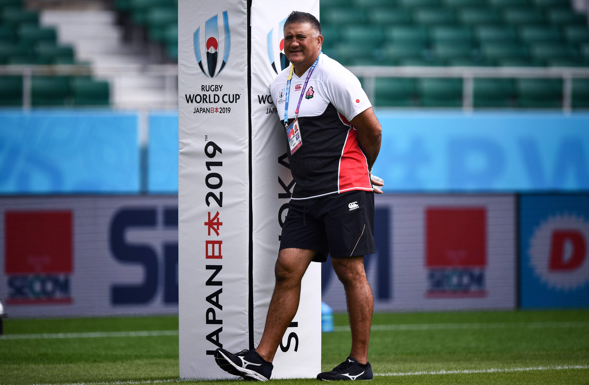 Japan coach Jamie Joseph looks on during a training session Thursday at Shizuoka Stadium Ecopa ahead of its Rugby World Cup Pool A match against Ireland on Saturday. | AFP-JIJI