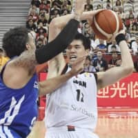 Japan's Yuta Watanabe looks to pass in the fourth quarter against the Czech Republic in a Group E game at the FIBA World Cup on Tuesday in Shanghai.   KYODO