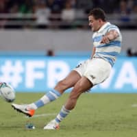 Argentina's Emiliano Boffelli misses a penalty in Saturday's match. | REUTERS