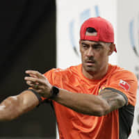 Tonga's Kurt Morath, seen practicing on Friday, will miss the rest of the Rugby World Cup after sustaining a throat injury against England on Sunday. | AP