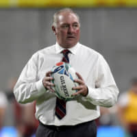 U.S. men's national team rugby coach Gary Gold is seen during warmups before Thursday's Rugby World Cup Pool C match against England in Kobe. | REUTERS