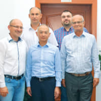 Yokogawa Czech Republic Management Team. First row from left: Ladislav Nagy, Manager Operations; Yuko Iizuka, Managing Director; Ján Veselý, Country Manager. Second row from left: Jaroslav Sucháň, Sales Manager; Balazs Szabomihaly, QHSE Manager